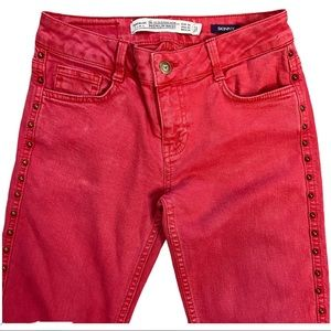 Zara Premium Wash Skinny Studded Jeans Red 2